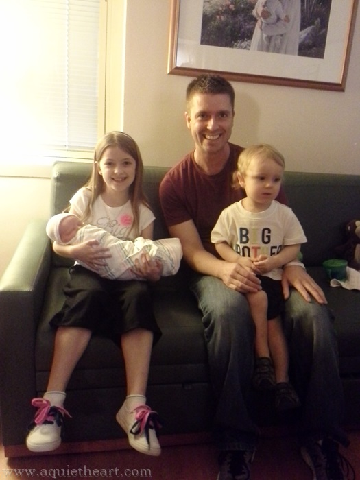 Big Sister, Big Brother, and Little Sister with Daddy